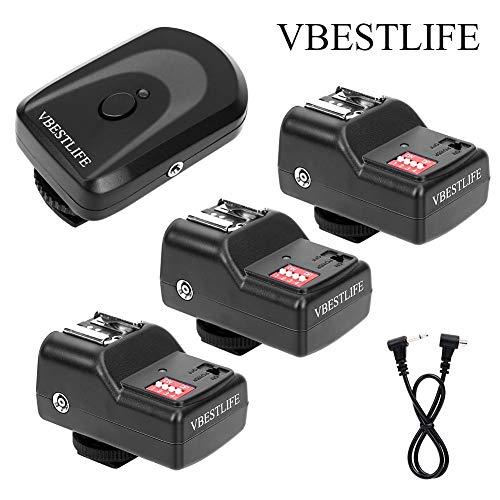 Conjunto de disparador de flash inalámbrico de 16 canales Qinlorgo 433MHZ: 1 transmisor 3 receptores 1 cable de sincronización para Canon, Nikon, Pentax, Sigma, Vivitar y otras unidades de fla