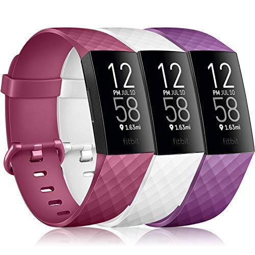 Vancle 3 Pack Kompatibel für Fitbit Charge 3 Armband/Fitbit Charge 4 Armband, Klassisch Sport Verstellbares Ersatzarmband für Fitbit Charge 3/Fitbit Charge 4 (Weiß/Wine Rot/Lila, S)