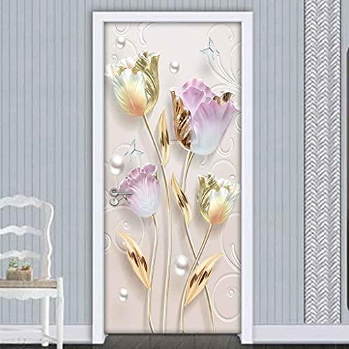 CBWRAW 3D Etiqueta De Puerta Wallpaper Flores Abstractas Doradas 77x200cm Moderna Decorativos Casera Mural Para Dormitorio Sala De Baño Removible Vinilos Autoadhesivo Impermeable Poster Pegatina