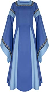 Women Medieval Long One-Piece Royal Dress Renaissance Belle Sleeve Retro Gown Halloween Costume