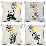 Morsky Conjunto de 4 Animales de la Historieta del patrón del Tiro Fundas de Almohada Decorativo Cuadrado Cojín 18 x 18 Pulgadas 45 x 45 cm (Panda) (Size : 45 * 45CM)