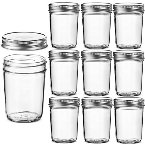 Glass Regular Mouth Mason Jars, 8 Ounce Glass (10 Pack)