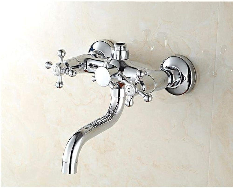 Klassisches Duschset Chromfarbe Einhandmischer aus massivem Messing für Badarmaturen mit Dusche Mischbatterie für kaltes und warmes Wasser