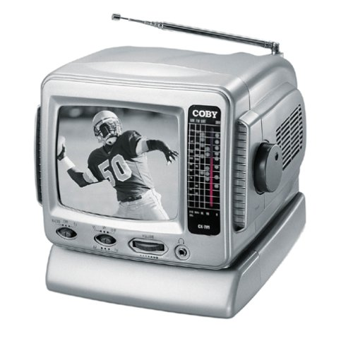 Coby CX-TV1 5' Black-and-White TV with AM/FM Tuner