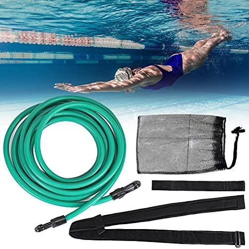 Swim Training Belts, Swim Training Leash,Swim Tether Stationary Swimming, Swim Harness Static Swimming Belt, Swim Bungee Cords Resistance Bands (Green, 4)