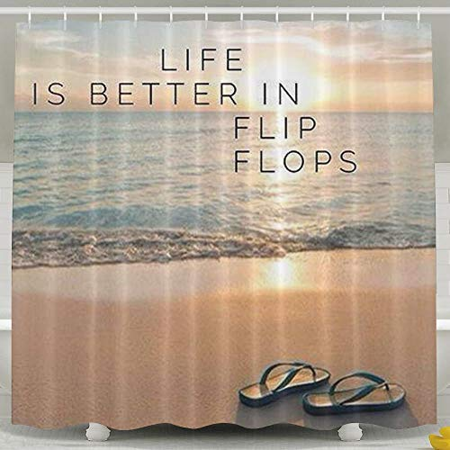 Afagahahs Personalized Shower Curtain-Life is Better in Flip-Flops Bathroom Curtains 60 x 72 in