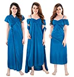 TUCUTE® - Women's/Girls Satin Matching Nightwear - 2 Pcs Set- Nighty/Robe DN No.1001 (Navy-Blue)