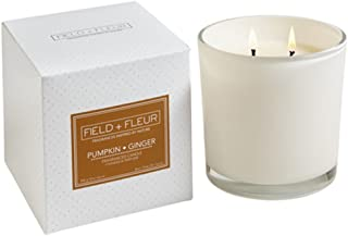 Field + Fleur PGGL, 2-Wick White Glass Jar Candle, Pumpkin Ginger, 12 oz