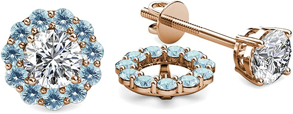 TriJewels Aquamarine Halo Jacket for Stud Earrings 0.45 ct tw in 14K Rose Gold