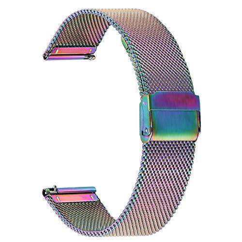 TRUMiRR Kompatibel mit Amazfit GTS/Amazfit Bip Lite Armband, Mesh Gewebt Edelstahl Uhrenarmband Quick Release Armband Business Ersatzband für Amazfit GTS/Amazfit Bip/Amazfit Bip Lite