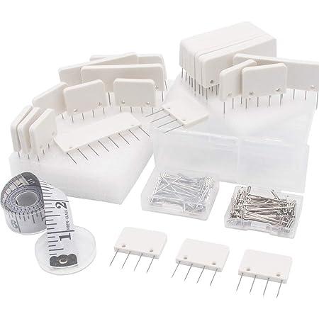 LAMXD Pin Kit, Knit Blocking Combs - 25 peignes pour bloquer les projets de tricot, de crochet, de dentelle ou d'aiguille - 100 T-pins supplémentaires - pour tricoter des tapis de blocage de tapis