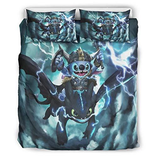 Butterfly Goods Tagesdecken Wikinger blau Alien leicht und weich - 3-teiliges Bettgarnitur 1 Bettbezugund2 Kissenbezüge Maschinenwaschbar White 229x229cm