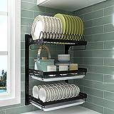 Estante de cocina de acero inoxidable negro | Escurridor de platos de pared –...