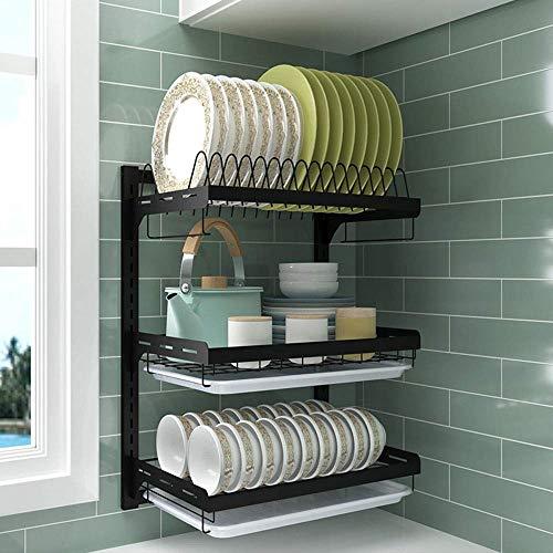 Estante de cocina de acero inoxidable negro | Escurridor de platos de pared – 2 pisos/3 pisos, estantes opcionales para cubiertos de almacenamiento, de DJSMsnj, acero inoxidable, 3 layer