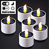 6pcs Solar Tea Lights, PChero Waterproof Rechargeable LED Flameless Tealight Candles with Dusk