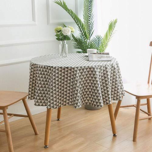 EDCV 150cm tafelkleed Ronde tafelkleden Eettafel CoverschoorsteenmantelDecoratief tafelkleed Katoen linnen, 11