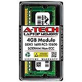 A-Tech 4GB DDR3 1600MHz SODIMM PC3-12800 CL11 204-Pin Non-ECC Unbuffered Notebook Laptop RAM Memory Upgrade Module