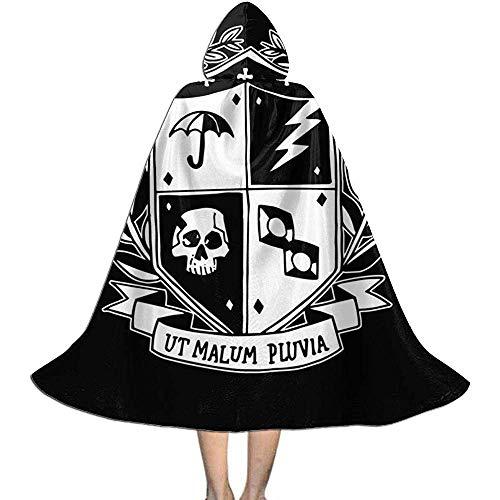 Not Applicable Cape Zauberer,Regenschirm-Akademie-Schulwappen-Dunkelschwarz-Personalisierte Hexen-Zauberer-Kostüme Für Show-Party 118cm