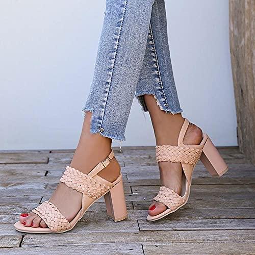 Sandalias, Zapatos de Verano para Mujer, Anillo de pie, Desgaste Zapatillas para Mujer, Zapatos de Verano-Albaricoque_40