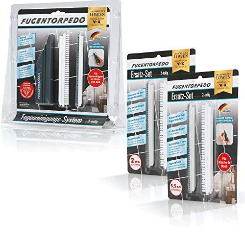 Fugentorpedo 08464 All-In-One-Set Griff, 3X Fugenbürste 2mm 3mm & 1x Schleifsteg 5mm | Effektive Fugenreinigung und-versiegelung | Für Zementfugen in Küche und Bad, Schwarz, Size