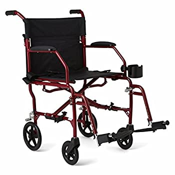 """Medline Ultralight Transport Wheelchair with 19"""" Wide Seat Folding Transport Chair with Permanent Desk-Length Arms Red Frame"""