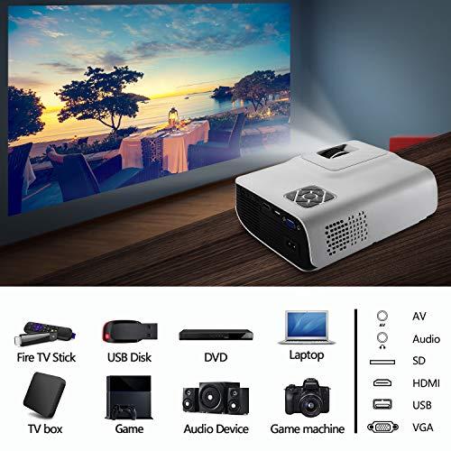 FunLites Video Projektor Full HD, Portable Mini Beamer, Native 1280x720P unterstützt 1080P, HDMI VGA AV USB kompatibel, Schwarzweiß - 8