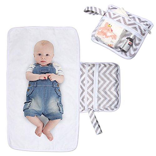 Luxja Manta Plegable para Cambiador Cambiante Portátil de Viaje para Bebé … (Olas Grises)