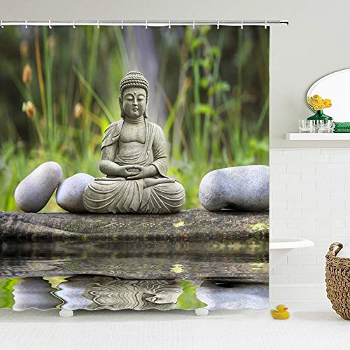 N / A China Buddha Duschvorhang wasserdichter Badvorhang aus Polyestergewebe mit Haken benutzerdefinierte Dekoration wasserdicht und schimmelresistent Duschvorhang Duschvorhang A6 150x180cm