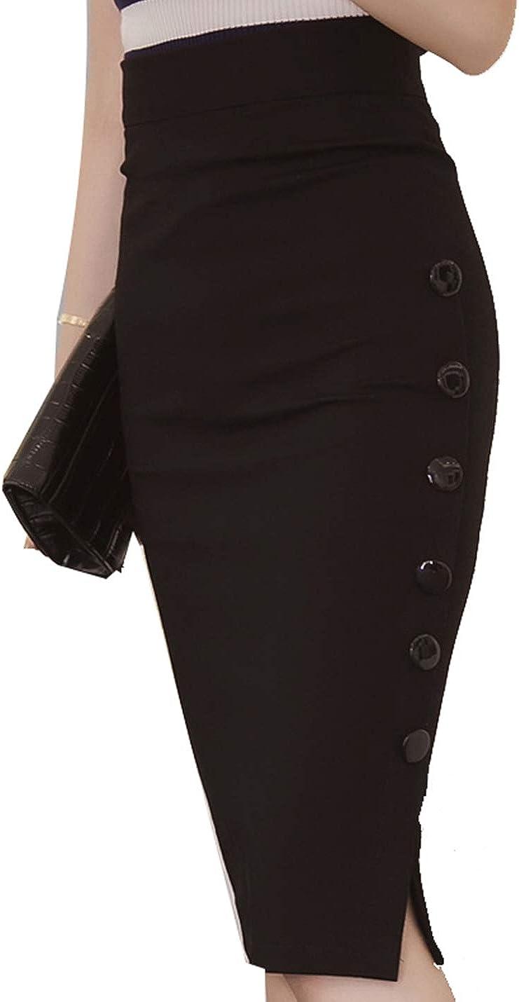 Naliha Women Pencil Skirt High Waist Wear to Work Bodycon Office Midi Skirts