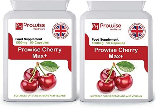 Cherry Max (paquete de 2) 750 mg 90 cápsulas - Cerezas Montmorency liofilizadas de alta resistencia - Fabricadas en el Reino Unido   Estándares GMP de Prowise Healthcare