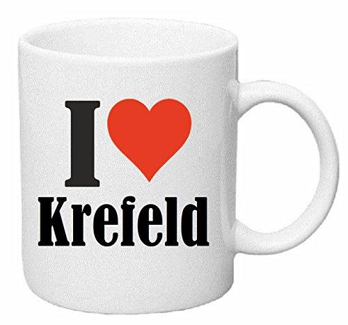 Reifen-Markt Kaffeetasse I Love Krefeld Keramik Höhe 9,5cm ? 8cm in Weiß