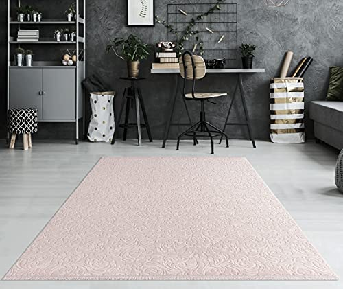 Daphne - Alfombra moderna de pelo corto, lavable, efecto 3D, parte inferior antideslizante, diseño floral, color rosa, 200 x 290 cm