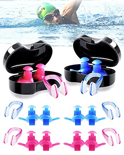 6 Pair Ear Plugs with Nose Clips for Swimming, Soft Silicone Swimming Earplugs for Surfing, Snorkeling, Showering, Training, Reusable Swimmers Ear Protection for Kids Adults