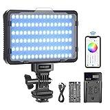 Neewer Luz Video RGB con Control de Aplicación Luz Cámara LED a Todo Color de 360° CRI95 + Regulable 3200K-5600K 9 Escenas de Luz con Batería y Cargador(Sin Bolsa de Transporte)