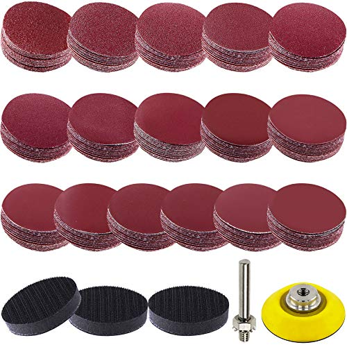 SIQUK 192 Pieces Sanding Discs 50mm Hook and Loop Assorted Grit Sandpaper with 3 Pcs Soft Foam Buffering Pads and 1 Pc Backer Plate with 1/4 Inch Shank, 60-3000 Grits Sanding Discs for Drill