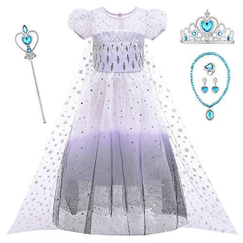 O.AMBW Disfraz de Frozen Princesa Elsa Vestido para nias Blanco Negro con Capa Lentuejuela Cosplay Princesa Regalo Cumpleaos Disfraces con Accesorios Fiesta Halloween para Nias 2 a 10 aos