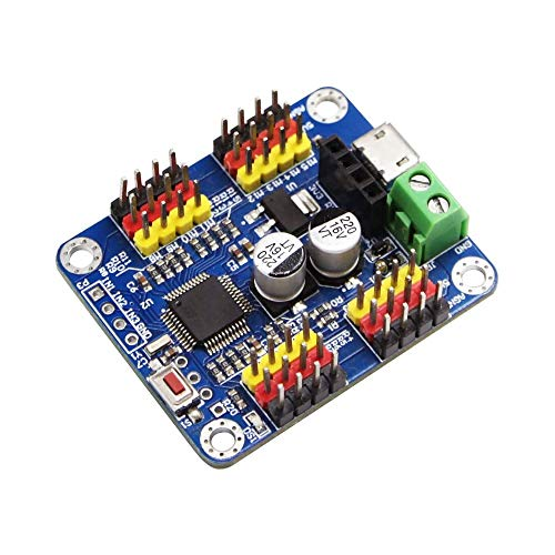 WITMOTION Bluetooth 16 Channels PWM Servo Motor Driver Controller Board Module PCB steering gear for SG90 MG995 Arduino Robot Raspberry Pi DIY Servo Shield Module Offer PC/Android software freely