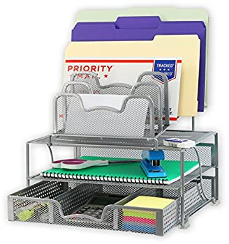 SimpleHouseware Mesh Desk Organizer with Sliding Drawer Double Tray and 5 Stacking Sorter Sections Silver