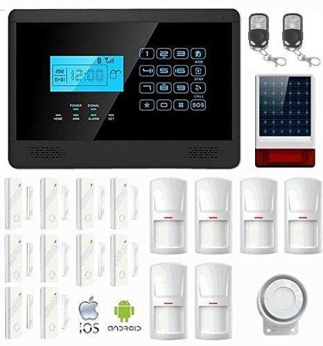 KIT Solar Plus M2EB Antifurto Allarme Casa LKM Security Kit Wireless Senza Fili Controllabile da Cellulare con App Gratuita. Kit con Sirena Solare