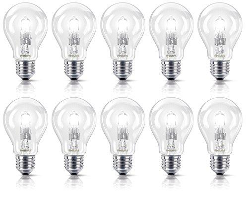 Philips Halogenlampe EcoClassic 70 W ersetzt 92 W E27, 10er-Pack, warmweiß 8727900660654