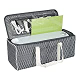 Everything Mary Deluxe Collapsible Die-Cut Machine Carrying Case, Grey Diamond - Storage Tote for Cricut Air & Maker Brother, Silhouette - Accessories Bag for Supplies, Weeding Tools, Pens & Vinyl