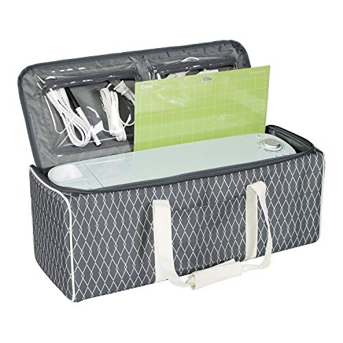 Deluxe Die-Cut Machine Carrying Case, Grey Diamond - Storage Tote for Cricut Air & Maker Brother, Silhouette - Accessories Bag for Supplies, Weeding Tools, Pens & Vinyl