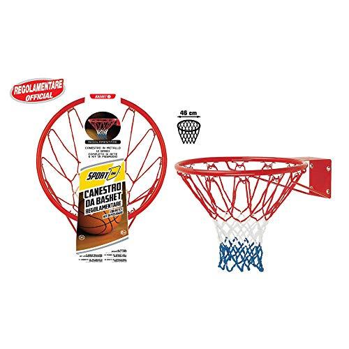 Sport1 Canestro Regolamentare Basket Ring Rosso 46cm