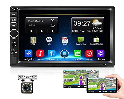 Podofo Android Autoradio 2 Din 2G+32G GPS-Navigation 7-Zoll-Touchscreen Bluetooth Headunit im Dash Quad Core Unterstützung WiFi USB-Spiegelverbindung 1080P FM Radio Video Player+Rückfahrkamera