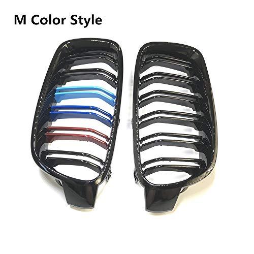 1 par F30 Car Styling Grill M3 Estilo F31 riñón Negro Reemplazo Rejilla for BMW F31 F30 2012+ 320i 325i 328i 335i Negro Brillante Parrilla del Coche (Color : M Color)