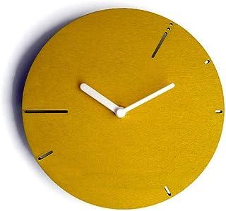 28cm Orologio da muro moderno in legno silenzioso ispirato alla sequenza dei numeri di Fibonacci colorato come giallo bana...