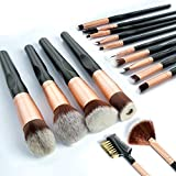 Brochas de Maquillaje 16 piezas Pinceles de maquillaje professional fibra sintética para las cejas, base de maquillaje, polvos, crema, Set de brochas de maquillaje
