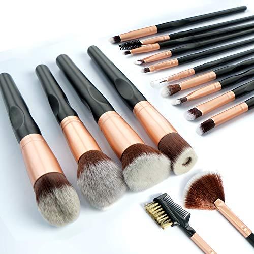 Pennelli Make up Bamoer 16 pezzi Set di pennelli, fibra sintetica morbida e densa, manico lungo concavo, eyeliner, ombretto, sopracciglia, pennello per fondotinta