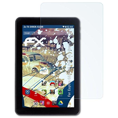 atFolix Schutzfolie kompatibel mit Captiva Captiva Pad 10.1 Quad HD Panzerfolie, ultraklare & stoßdämpfende FX Folie (2X)