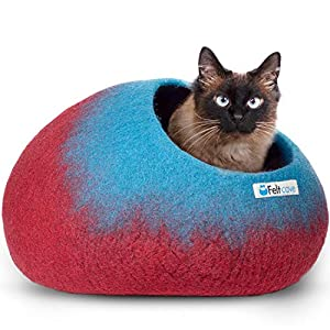 Feltcave Wool Cat Cave Bed, Handcrafted from 100% Merino Wool, Eco-Friendly Felt Cat Cave for Indoor Cats and Kittens (Maroon&Aqua)